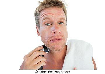 sien, rasage, barbe, homme, topless