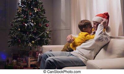 sien, ravi, petit-fils, personnes agées, amusement, maison, avoir, homme