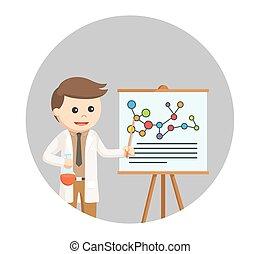 sien, recherche, scientifique, fond, cercle, présentation, homme