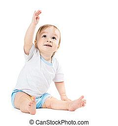 sien, redresser, main, points, bébé