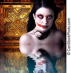 sien, reflet, or, image, halloween, vampire, eau, femme, gothique, sanguine, fond, mouth., sur