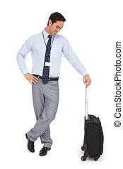 sien, regarder, sourire, valise, homme affaires