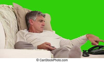 sien, retiré, sofa, appel téléphonique, avoir, homme