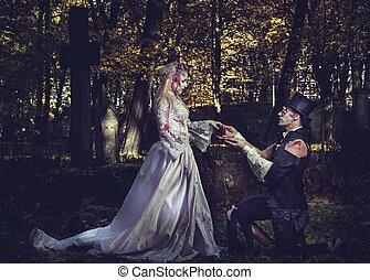 sien, romantique, habillé, zombi, fiançailles, girlfriend., mariage, proposition, vêtements, marques, homme