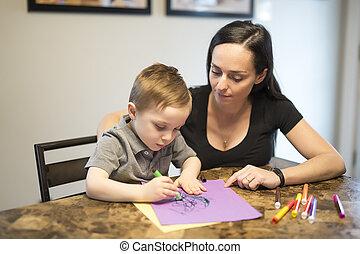 sien, séance, enfant, maman, maison, table, dessin, cuisine