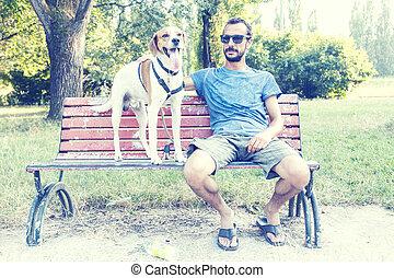 sien, séance, parc chien, jeune, banc, homme