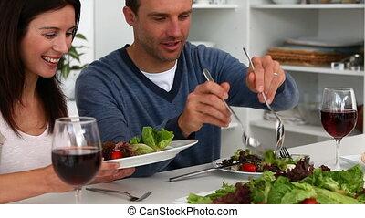 sien, salade, épouse, homme, servir