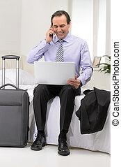 sien, salle, séance, sofa, hôtel, mûrir, results., homme affaires, heureux
