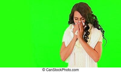 sien, screen., souffler, vert, nez, froid, girl