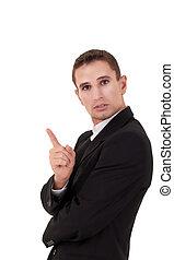 sien, secousse, hommes affaires, doigt