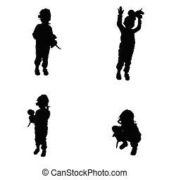 sien, silhouette, main, jouet, poser, enfant