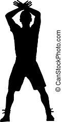 sien, silhouette, raised., illustration, main, vecteur, homme