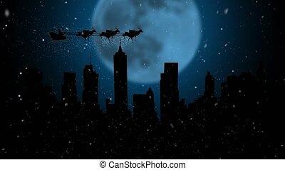 sien, silhouette, sky., voler, reindeers, père noël