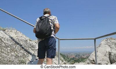 sien, smartphone, touriste prend photo