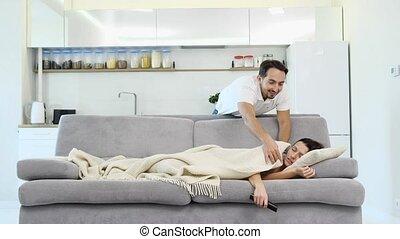 sien, sommeils, épouse, tv, plancher, montres, quoique, homme