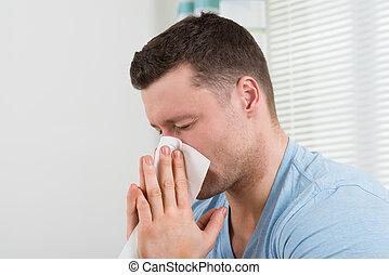 sien, soufflant nez, maison, froid, homme