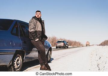 sien, stands, voiture, hiver, cassé, homme
