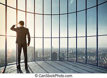 sien, success., média, professionnel, mélangé, homme affaires, apprécie