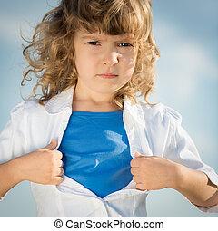 sien, superhero, chemise, ouverture, enfant, aimer