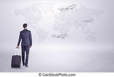 sien, sur, planification, homme affaires, mondiale, voyage