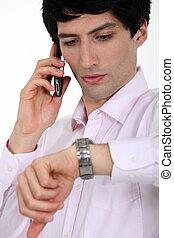 sien, sur, regarder, téléphone, watch., homme affaires