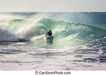 sien, surfer, bodyboard, homme, vague