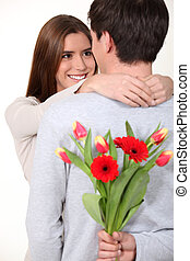 sien, surprenant, tas, petite amie, fleurs, homme