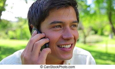 sien, téléphone portable, utilisation, homme, heureux