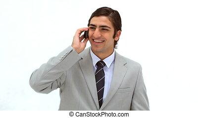 sien, téléphone portable, utilisation, homme souriant