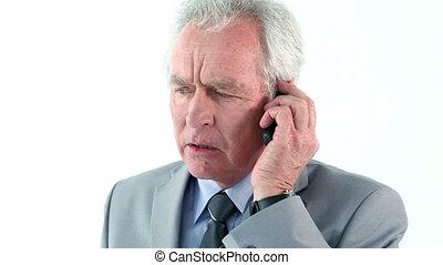 sien, téléphone portable, utilisation, sérieux, homme