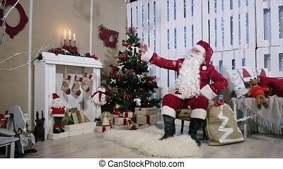 sien, téléphone, selfi, faire, arbre, santa, gifts., cheminée, noël, salle