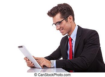 sien, tablette, business, jeune, tampon, brouter, homme