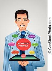 sien, tablette, commercialisation, projection, stratégie, homme affaires