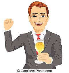sien, tenue, réussi, jeune, verre, quoique, poing, homme affaires, champagne, élévation