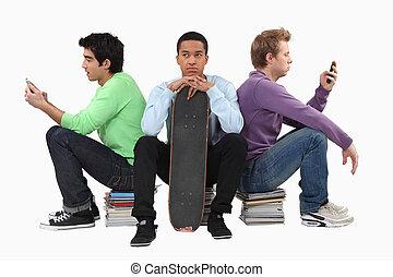 sien, texting, jeune, attente, finition, amis, ennuyé, homme
