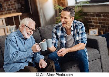sien, thé, père, jeune, personnes agées, agréable, boire, homme