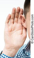 sien, tient, main, quelque chose, écoute, oreille, homme