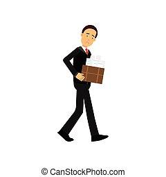 sien, travail, chômage, caractère, illustration, partir, métier, vecteur, économique, réduction, employé, homme affaires, crise, frustré