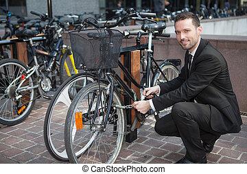 sien, travail, ouvrir, vélo, homme affaires, jour, après
