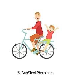 sien, vélo, père, dos, équitation, gosse