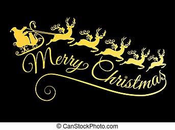sien, vecteur, illustration, traîneau, santa, renne, or, joyeux, doré, noël