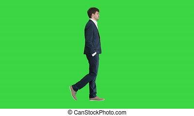 sien, vert, key., beau, mains, poches, chroma, homme affaires, marche, écran