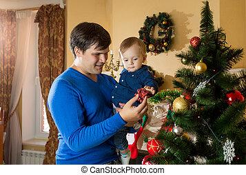 sien, vieux, père, arbre, jeune, étreindre, fils, 1, année, bébé, noël, heureux