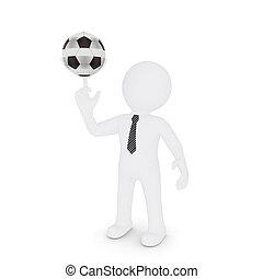 sien, virages, football, doigt, blanc, homme