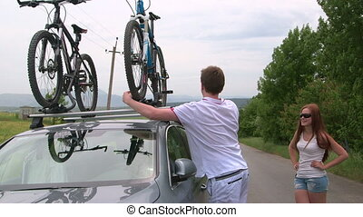 sien, voiture, couple, toit, bicycles, porter