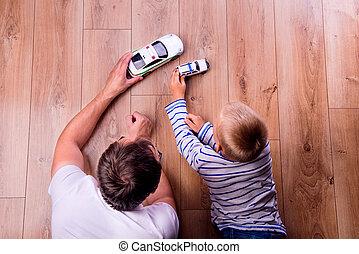 sien, voitures, père, fils, unrecognizable, jouer