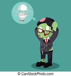sien, zombi, cassé, homme affaires, obtenu, ampoule