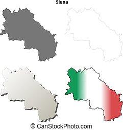 Siena blank detailed outline map set - Siena province blank...
