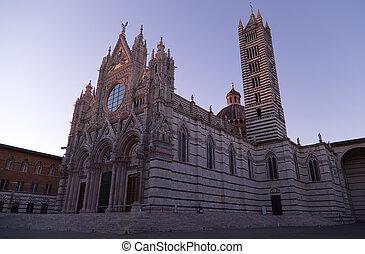 siena, cathédrale, coucher soleil
