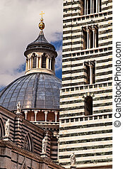 Siena cathedral dome and tower bell view.